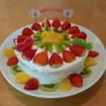 コストコのお刺身で「手巻き寿司」と手作り「フルーツケーキ(米粉入り)」で娘のお誕生日会